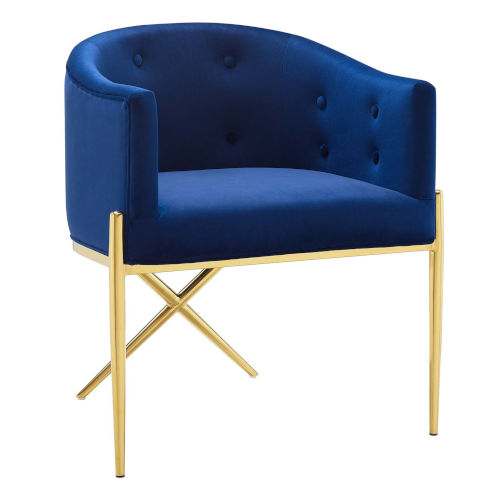 Cooper Navy and Gold Tufted Performance Velvet Dining Armchair