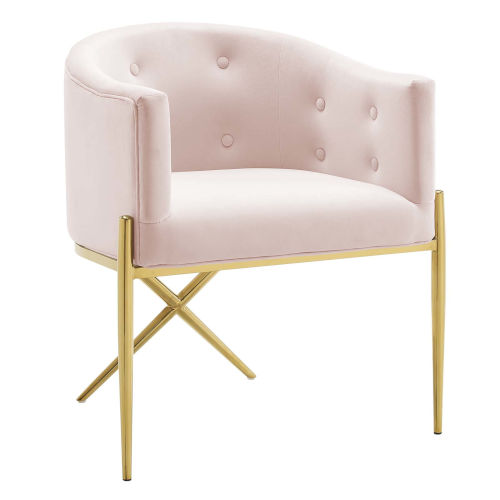 Cooper Pink and Gold Tufted Performance Velvet Dining Armchair