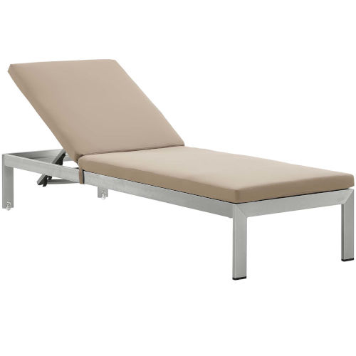 Darren Silver and Mocha Outdoor Patio Chaise with Cushions