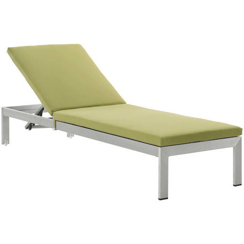 Darren Silver and Peridot Outdoor Patio Chaise with Cushions