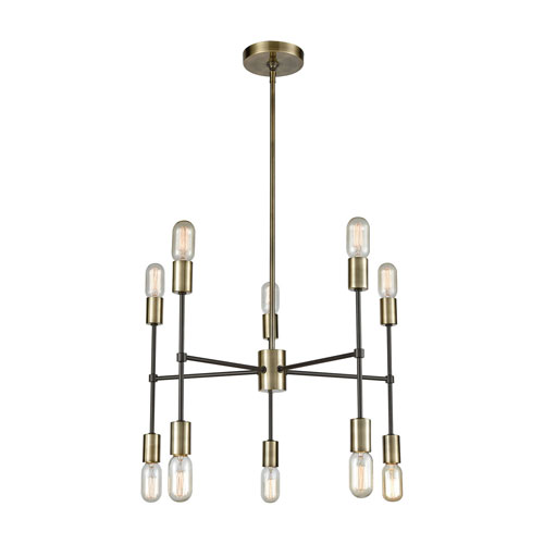 Loring Antique Brass and Oil Rubbed Bronze Ten-Light Chandelier