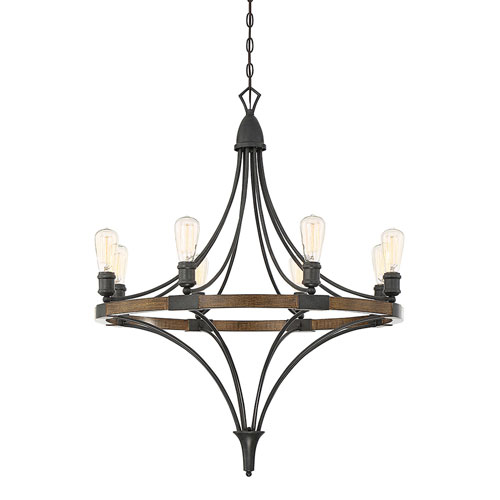 Fulton Wood and Black Eight-Light Chandelier