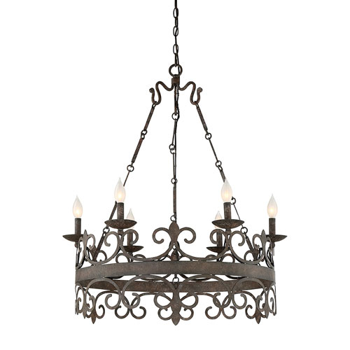 251 First Wellington Iron Six-Light Chandelier