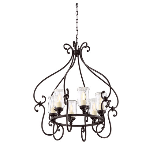 Wellington Bronze Six-Light Outdoor Chandelier