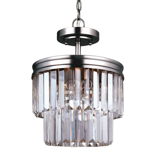 251 First Cooper Antique Brushed Nickel Two-Light Semi Flush Convertible Pendant