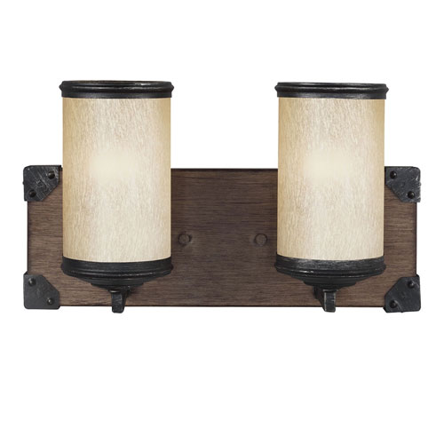 251 First River Station Black and Wood Two-Light Bath Vanity