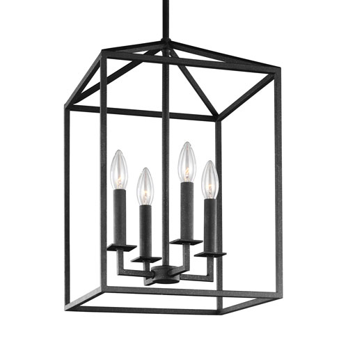 251 First Uptown Textured Black 23-Inch Four-Light Pendant