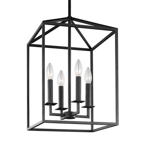 Uptown Textured Black 23-Inch Four-Light Pendant