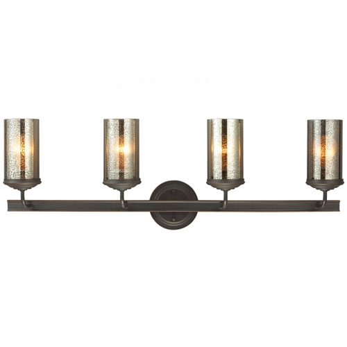 Afton Bronze Four-Light Bath Vanity with Mercury Glass