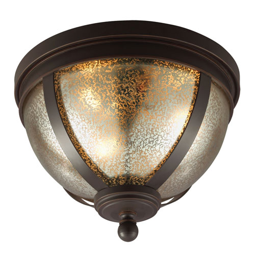 251 First Afton Bronze Three-Light Flush Mount with Mercury Glass