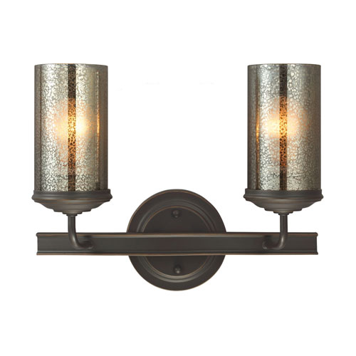251 First Afton Bronze Two-Light Bath Vanity with Mercury Glass