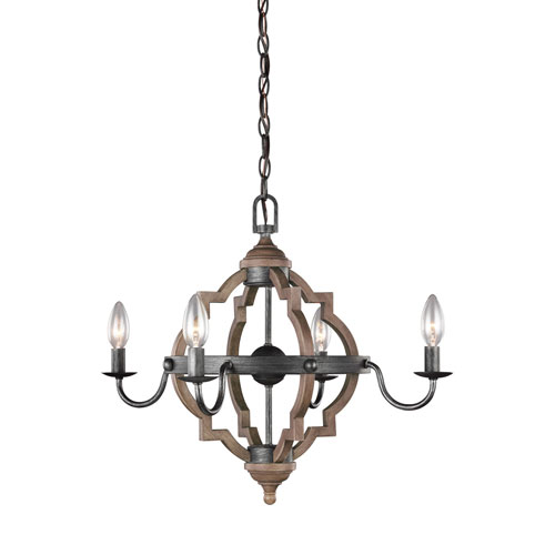 Kenwood Black and Wood 22-Inch Four-Light Chandelier