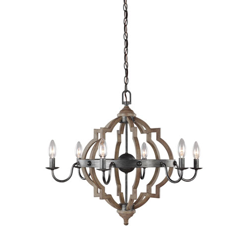 Kenwood Black and Wood 26-Inch Six-Light Chandelier
