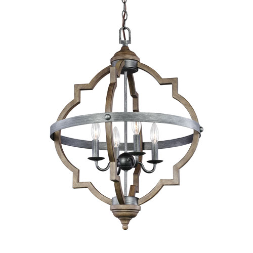 251 First Kenwood Black and Wood 21-Inch Four-Light Chandelier