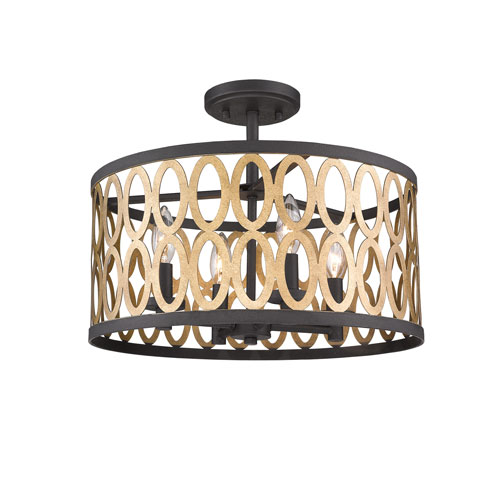 251 First Whittier Black and Warm Brass Four-Light Flush Mount