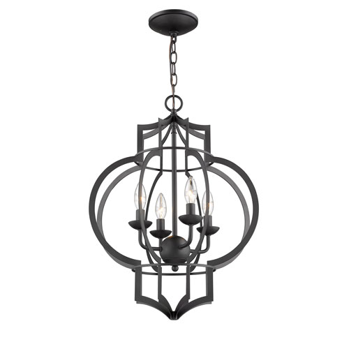 Selby Black Four-Light Pendant