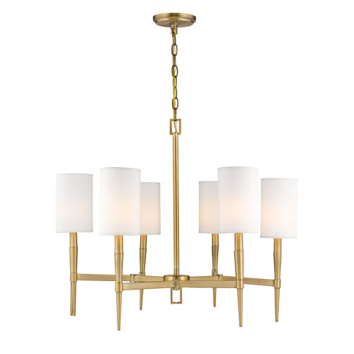 Selby Warm Brass Six-Light Chandelier - Brass Antique Satin Chandeliers Free Shipping Bellacor