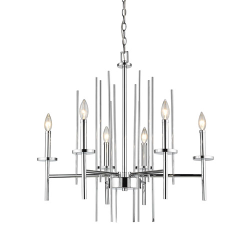 251 First Cooper Polished Chrome Six-Light Chandelier