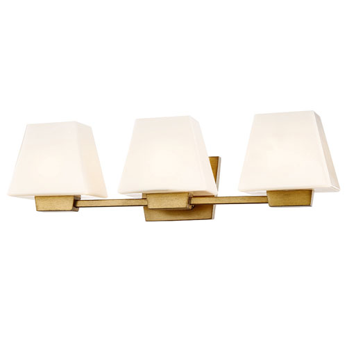 251 First Nicollet Antique Gold Three-Light Wall Sconce with White Opal Glass