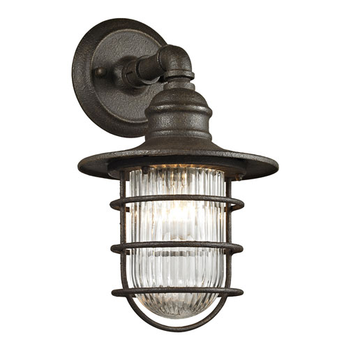 251 First River Station Centennial Rust One-Light Outdoor Wall Sconce with Clear Ribbed Glass