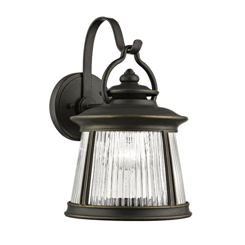 251 First River Station Old Bronze One-Light Outdoor Wall Mount with Clear Ribbed Glass