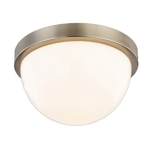 251 First Nicollet Satin Nickel 8-Inch LED Flush Mount  with White Opal Glass
