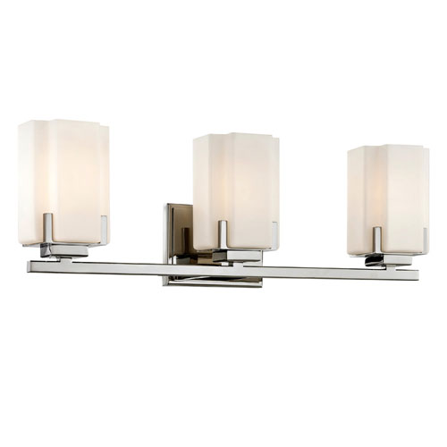 251 First Nicollet Polished Nickel Three-Light Wall Sconce with Etched Opal Glass