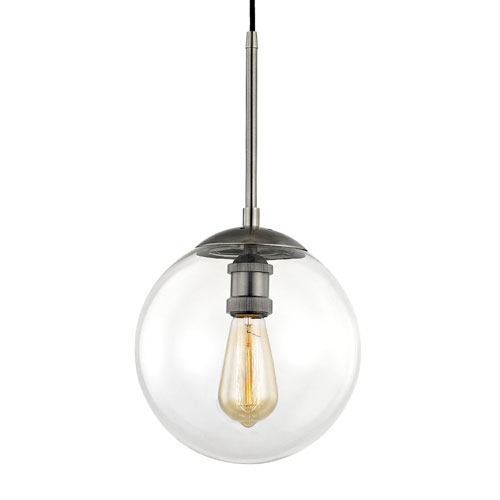 251 First Nicollet Historic Nickel 10-Inch One-Light Wall Sconce with Clear Glass Globe
