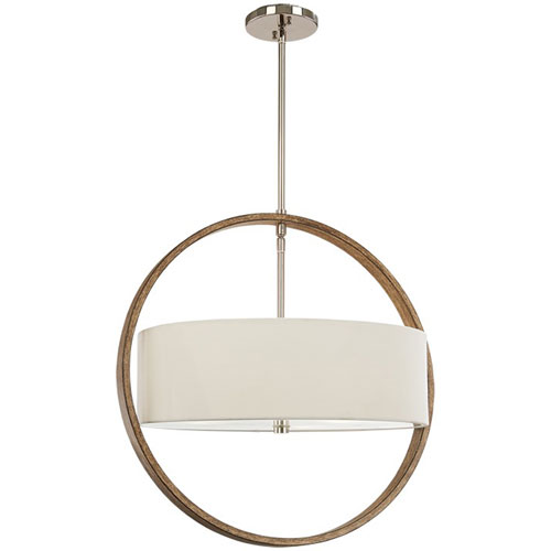 Linden Polished Nickel and Corona Bronze Three-Light Pendant with Fabric Shade