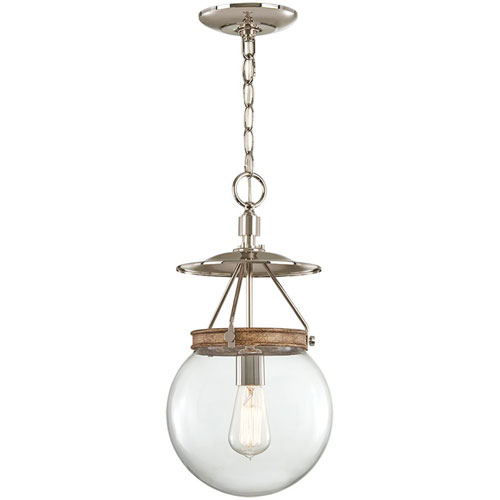 Afton Polished Nickel and Corona Bronze Four-Light Mini Pendant with Clear Glass Shade