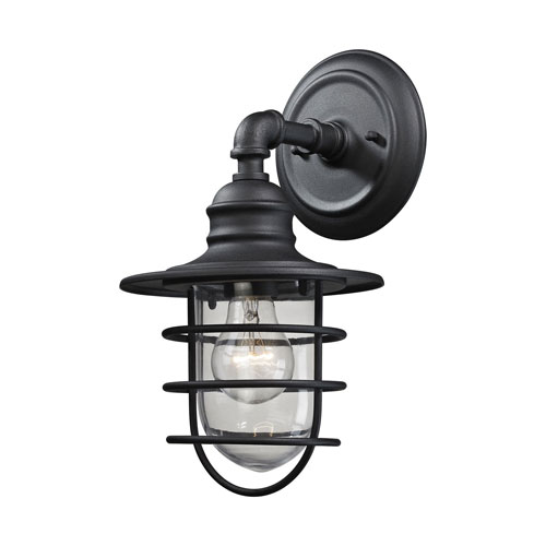 251 First Afton Textured Matte Black 7-Inch One-Light Outdoor Wall Sconce with Clear Glass