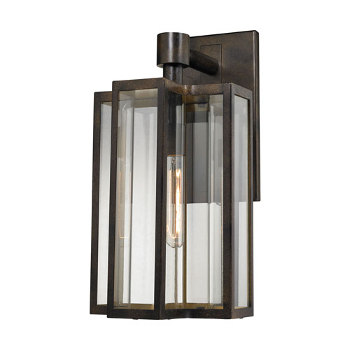 251 First Uptown Hazelnut Bronze 10-Inch One-Light Outdoor Wall Sconce with Clear Glass