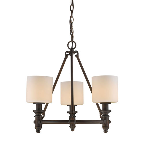 Evelyn Rubbed Bronze 19-Inch Three-Light Mini Chandelier with Opal Glass
