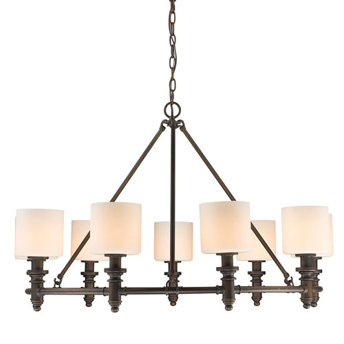 251 First Evelyn Rubbed Bronze Nine-Light Chandelier with Opal Glass