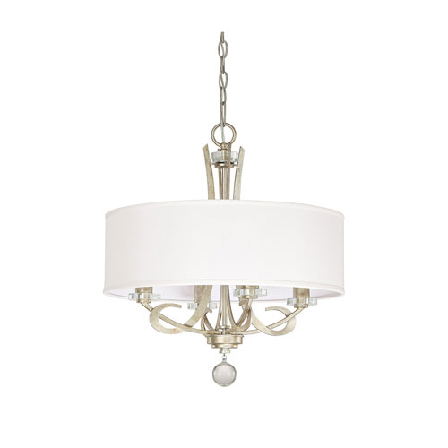 251 First Whittier Winter Gold Four Light Pendant with Drum Shade
