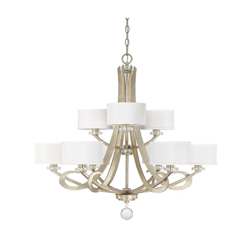 251 First Whittier Winter Gold Nine Light Chandelier with Shades