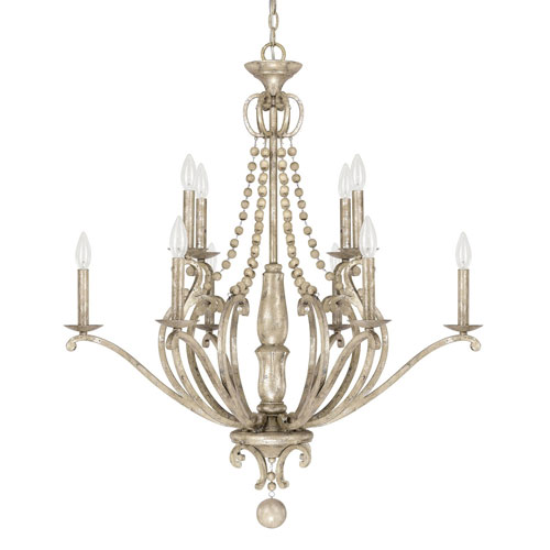 251 First Evelyn Silver Quartz 10-Light Chandelier with Wood Bead