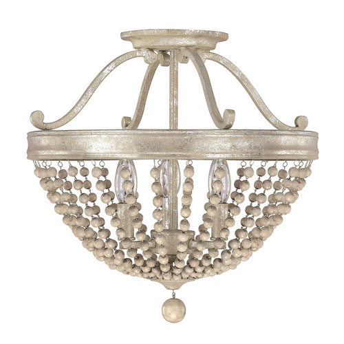 Evelyn Silver Quartz Three-Light Semi-Flush with Wood Bead