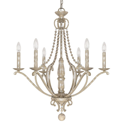 251 First Evelyn Silver Quartz Six-Light Chandelier with Wood Bead