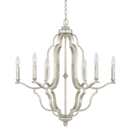 Whittier Antique Silver Six-Light Chandelier
