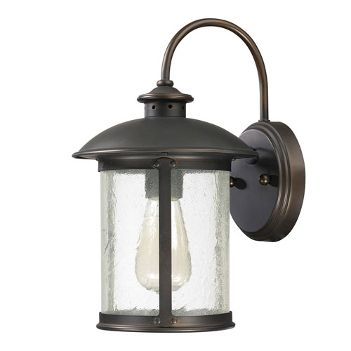 251 First Uptown Old Bronze One-Light Outdoor Steel Wall Lantern with Antique Glass