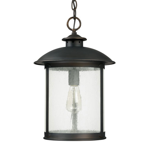 251 First Uptown Old Bronze One-Light Outdoor Hanging Lantern with Antique Glass