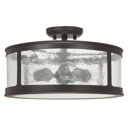 Uptown Old Bronze Three-Light Outdoor Semi-Flush with Antique Glass