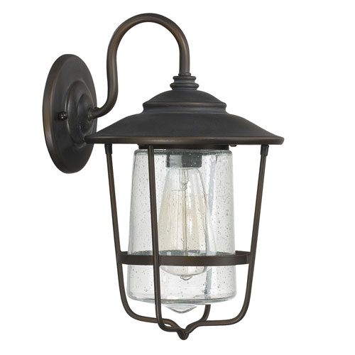Afton Old Bronze One-Light Outdoor Wall Lantern with Seeded Glass