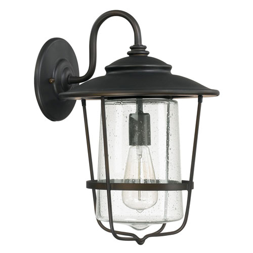 251 First Afton Old Bronze One-Light Outdoor Wall Lantern with Seeded Glass