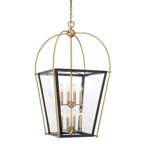251 First Uptown English Bronze and Warm Brass 20-Inch Eight-Light Pendant