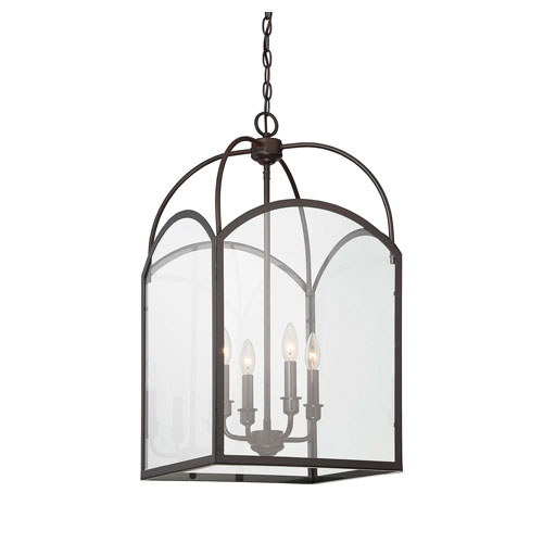Isles English Bronze 15-Inch Four-Light Foyer Pendant