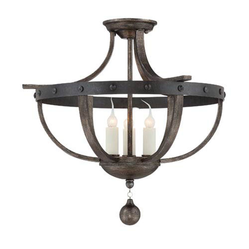 Afton Reclaimed Wood Three-Light Semi-Flush Mount
