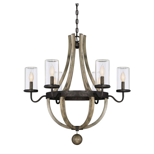 Afton Grey Six-Light Outdoor Chandelier