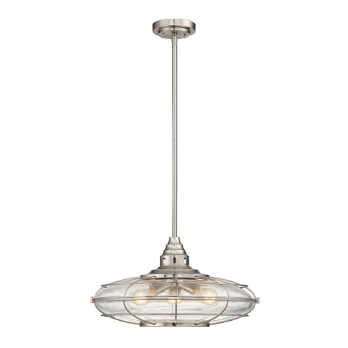 251 First River Station Satin Nickel Three-Light Pendant